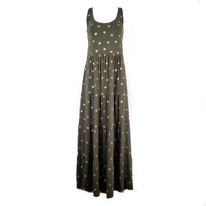 Boden | Maya Khaki Foil Print Jersey Maxi Dress 6L